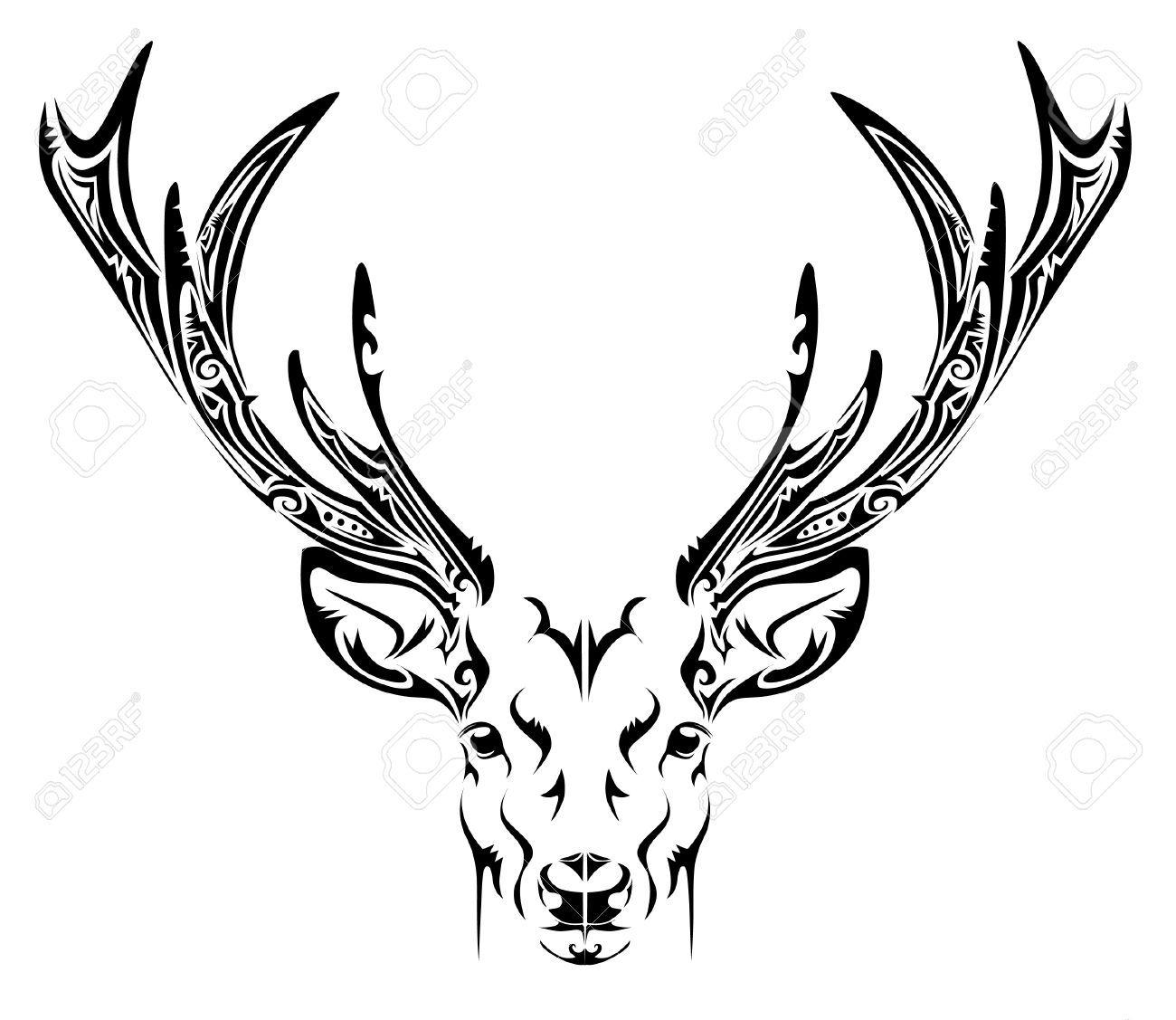 Elk Tribal Tattoo Google Search Deer Drawing Deer Head Stencil Deer Tattoo