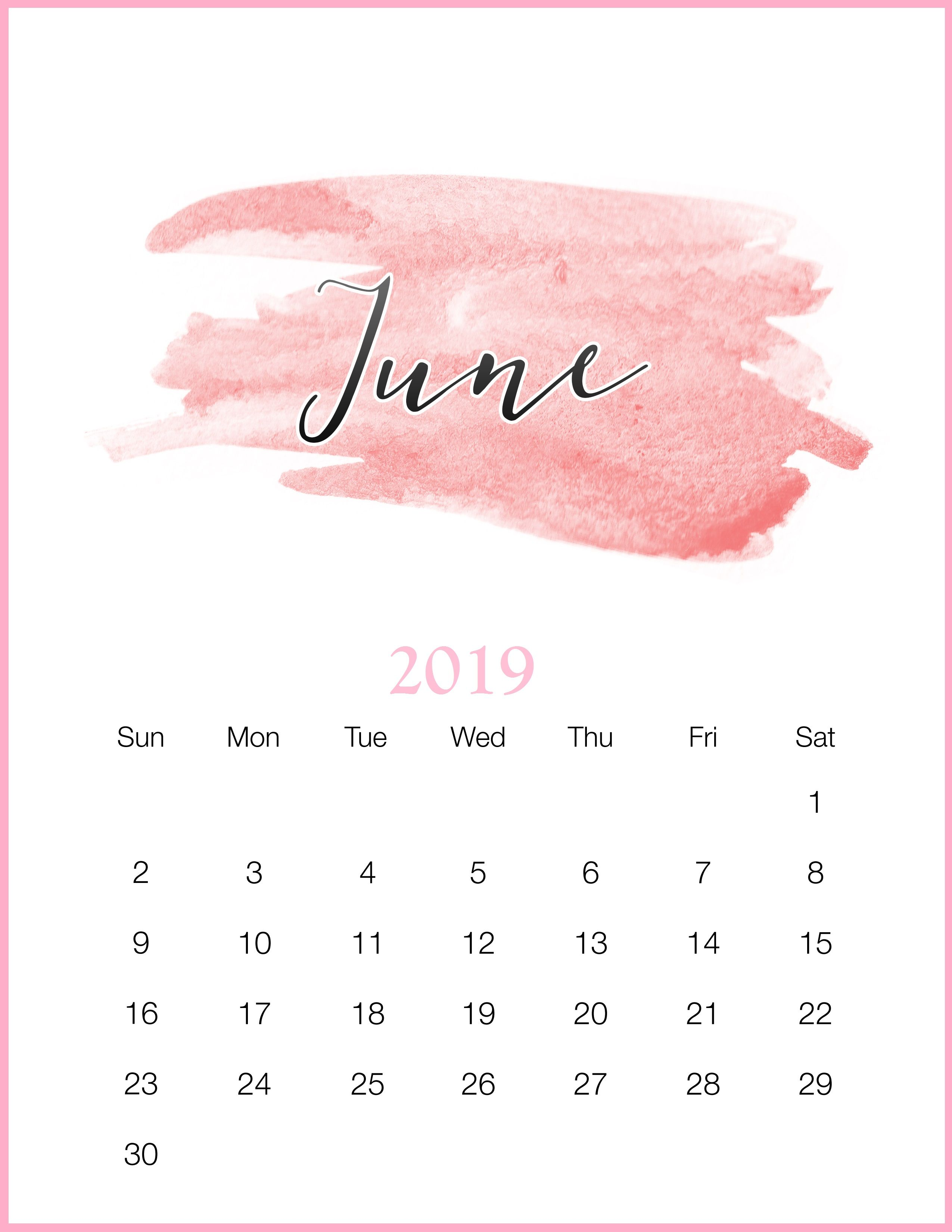 Watercolor 2019 June Printable Calendar Bachelorette Party