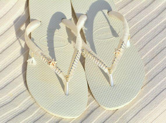 e2a0c61f3 Havaianas Silver Sterling Beaded Wedding Flip Flops