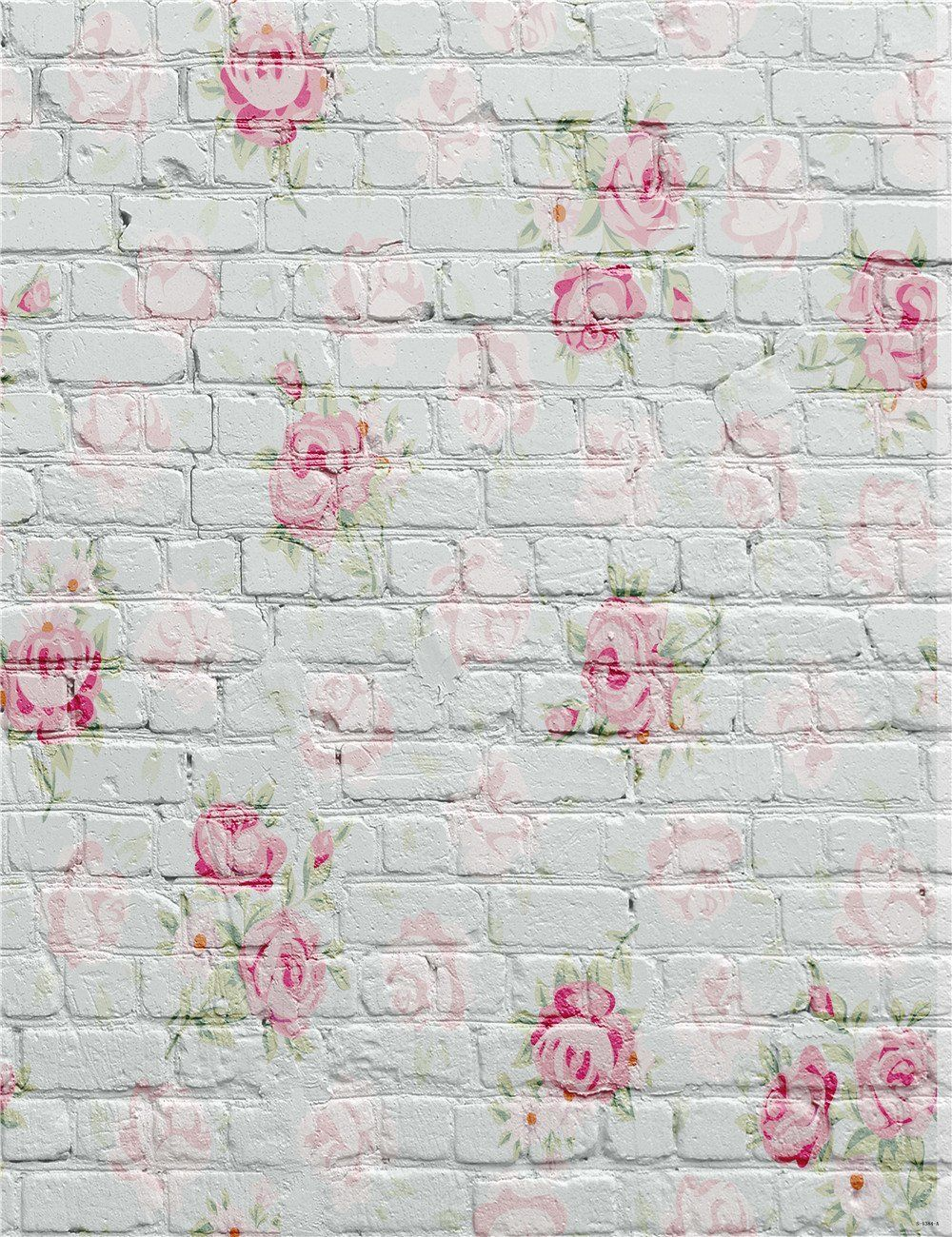 5x6 5ft Photography Background White Brick Wall Pink Flowers White Backdrop For Newborn P Brick Backdrops Flower Wall Backdrop Brick Wall Backdrop