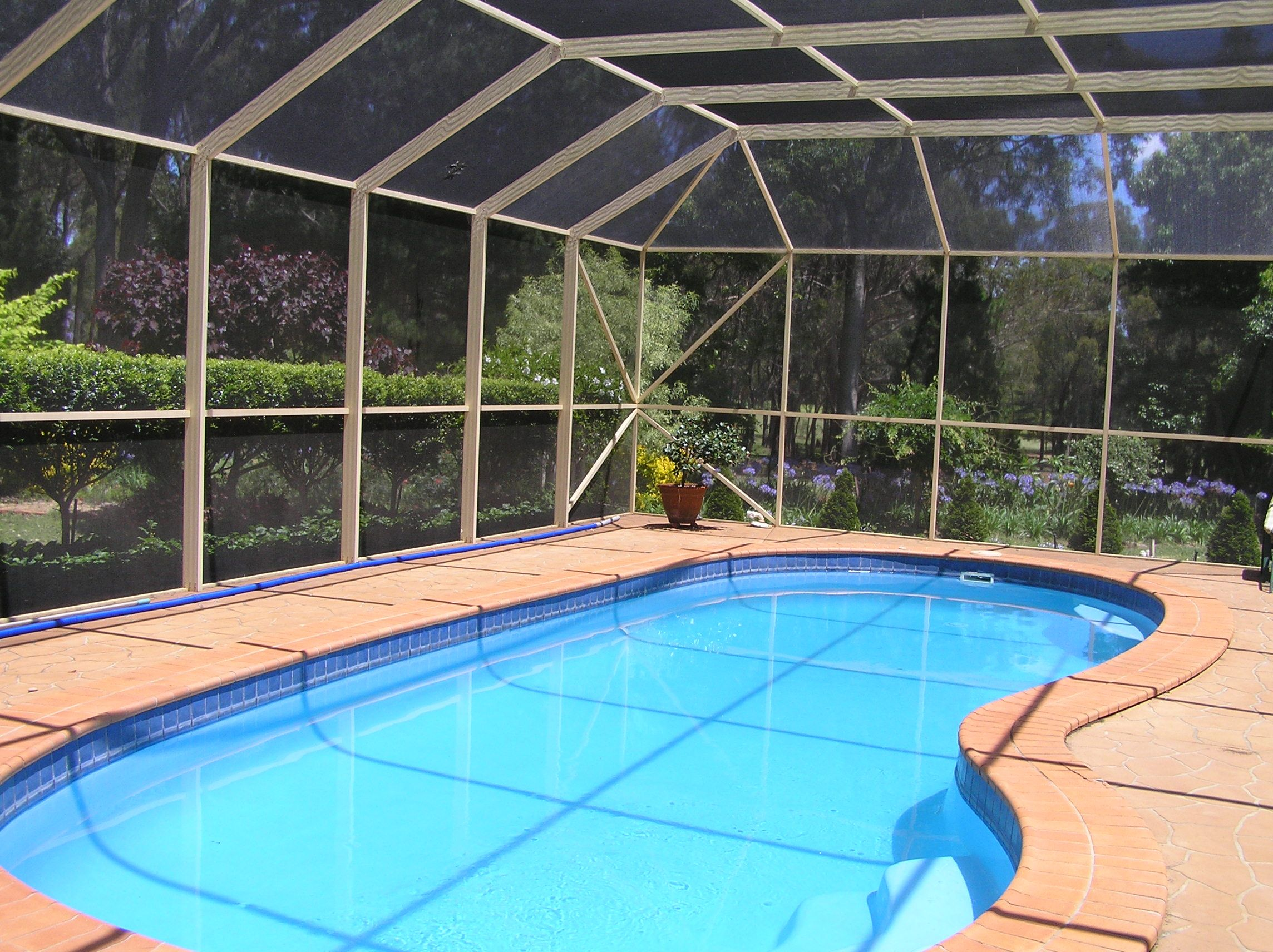 A pool enclosure to keep the bugs and debris out of the