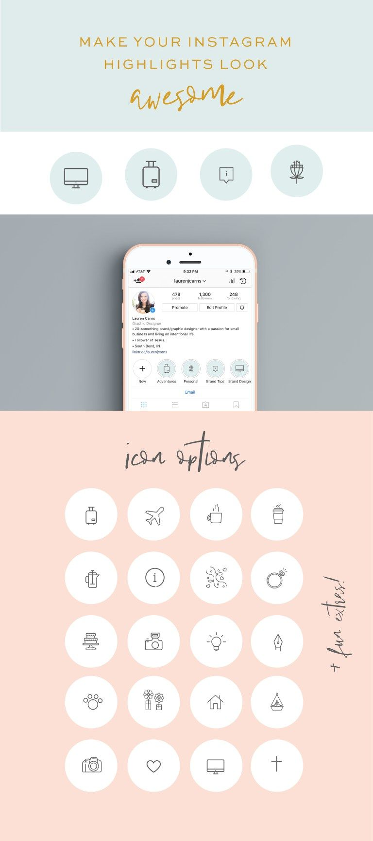 Customizable Instagram Story Highlight Icon Templates | The