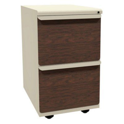 Mobile Pedestal with Laminate Front File Drawers - 23 in. Pumice / Mahogany - ZSMPFF23L_UTFM