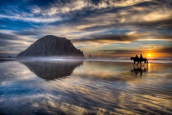 Horseback riding on the beach in Morro Bay, California. Check out our beautiful rental vacation home at http://www.vrbo.com/134115