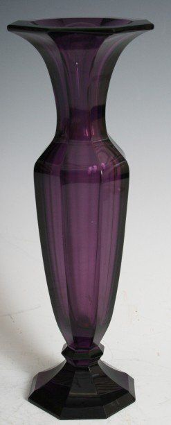 """Moser of Karlsbad Purple Glass Vase, in the style of Wiener Werkstatte , Austria. circa 1910. This vase is signed on the bottom, light scratches to the underside of the base. This vase measures 10.5"""" X 3"""" X 3""""."""