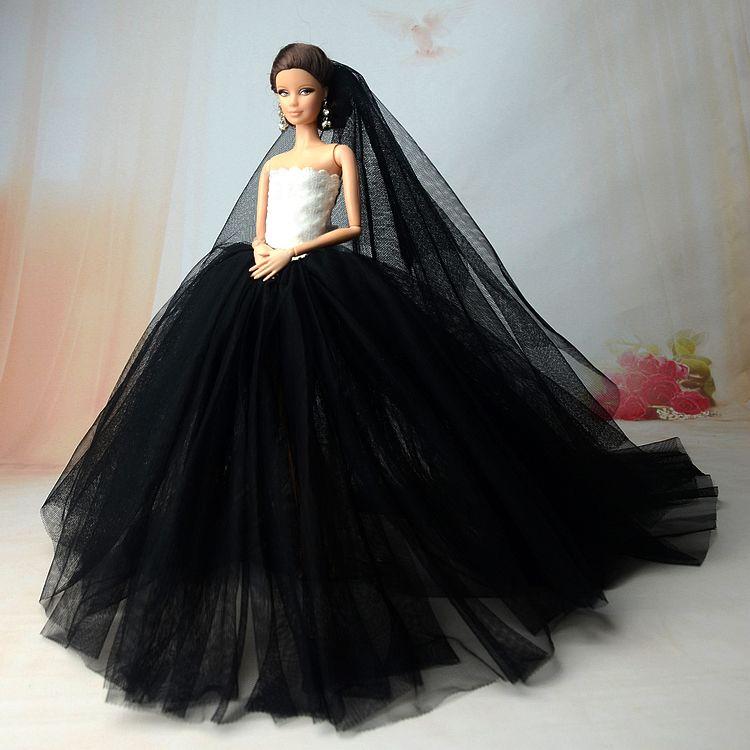 0981a64ea9 Vestido de Fiesta negro Para Barbie Doll 1 6 Muñeca Accesorios de Alta  Calidad de La Cola Larga Vestidos de Ropa de La Boda Vestido de Noche de la  Muñeca + ...