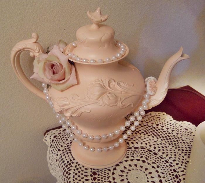 Teapot Center Piece Vintage 1905 Shabby Chic Pink White