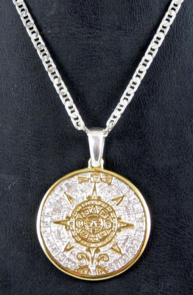 Aztec calendar pendant large rhodium w18k gold jewelry i love aztec calendar pendant large rhodium w18k gold aloadofball Image collections