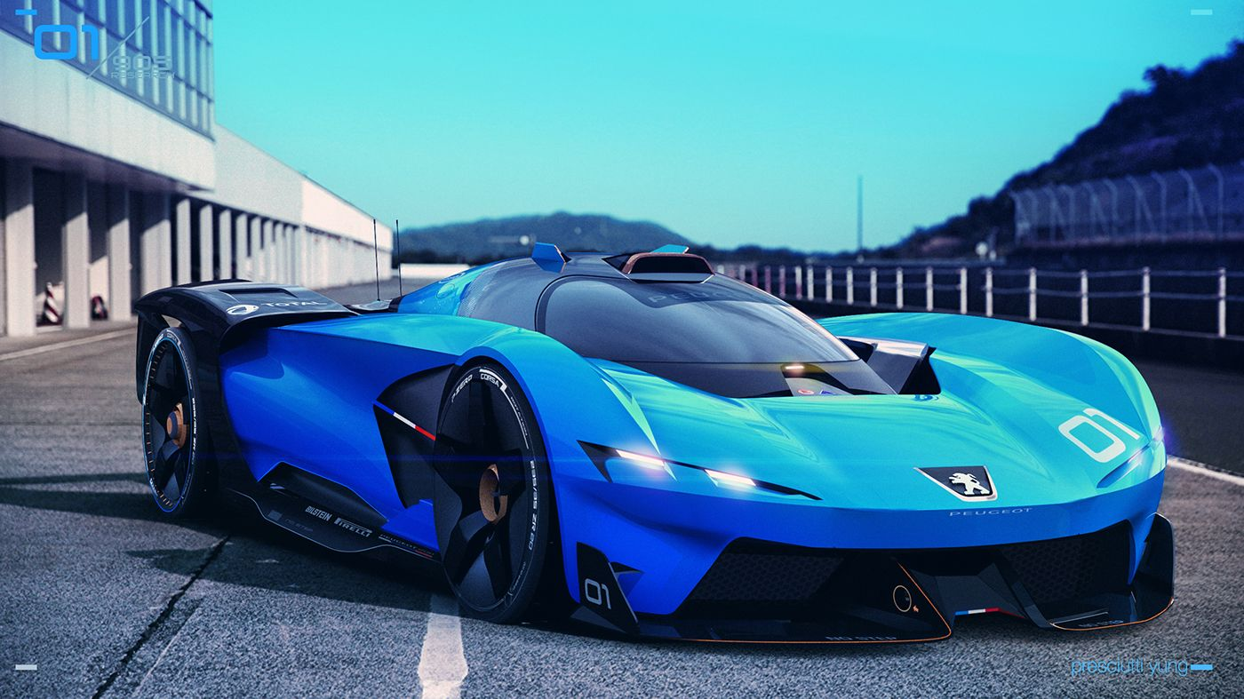 Peugeot 905e Is A Futuristic French Racer Carscoops Concept Cars Peugeot Futuristic Cars