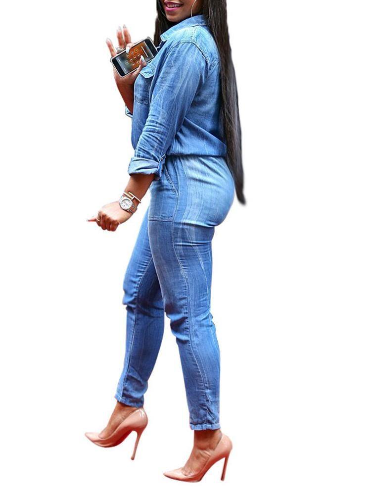 44eb6c9d801 Women Long Sleeve Slim Fit Denim Jumpsuit  jeans  jumpsuit  elegant jumpsuit   bodycon