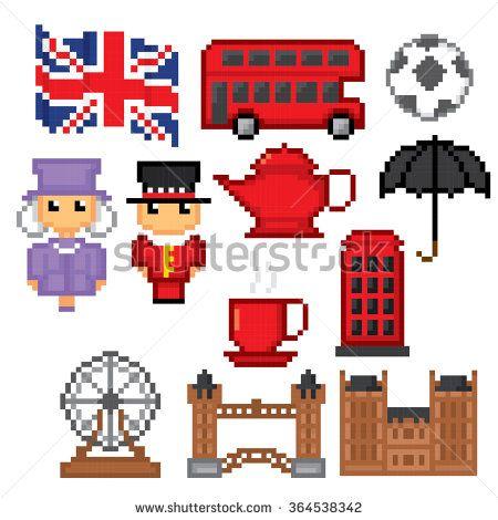 England Culture Symbols Icons Set Pixel Art Old School