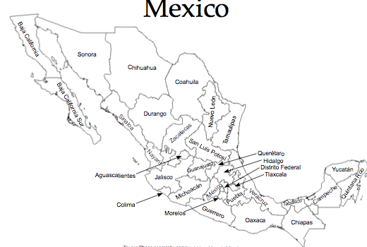 Free printable maps of mexico great for teachers for Mexico map coloring page