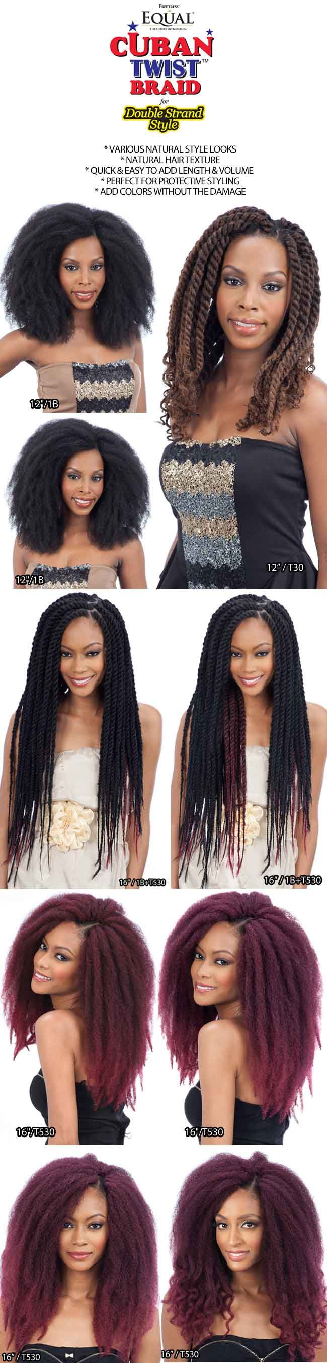 Freetress equal cuban double strand style twist braid