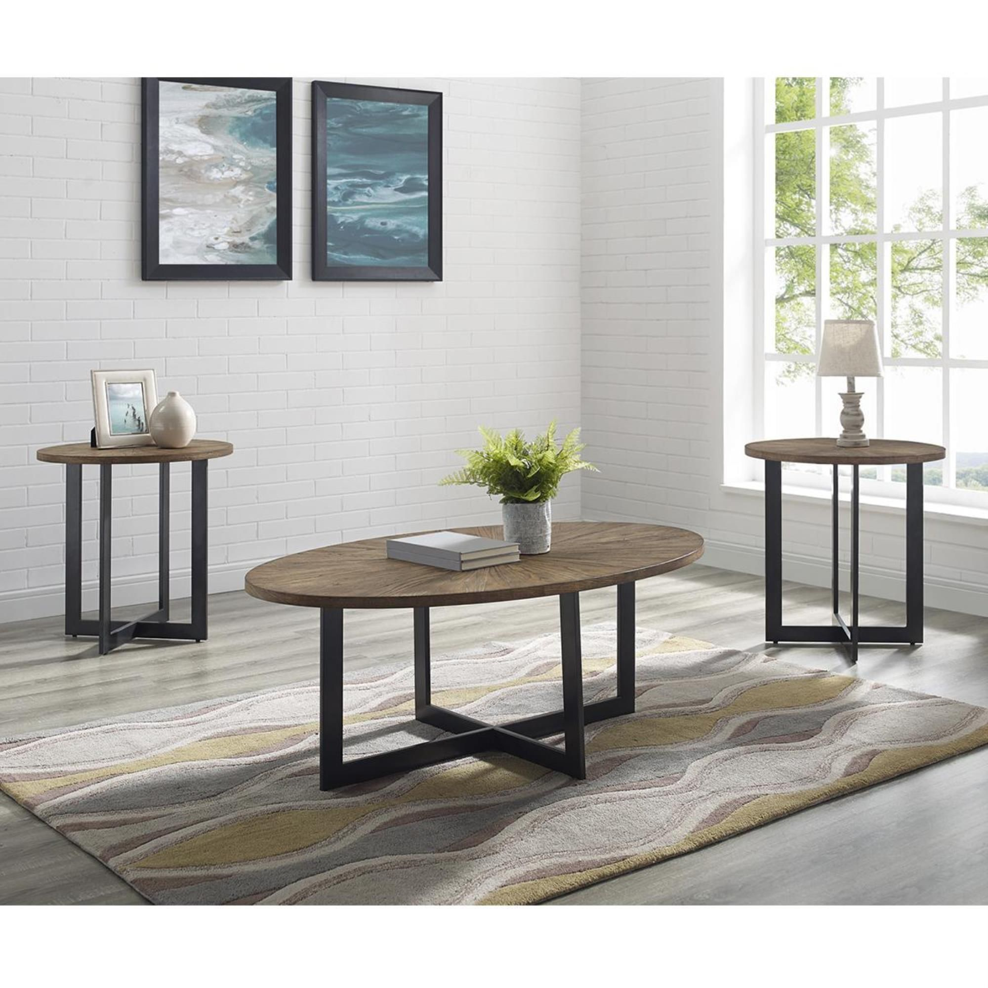 Crystal City Colton 3 Pack Table In Pecan Nebraska Furniture Mart 3 Piece Coffee Table Set Coffee Table Oval Wood Coffee Table [ 2000 x 2000 Pixel ]