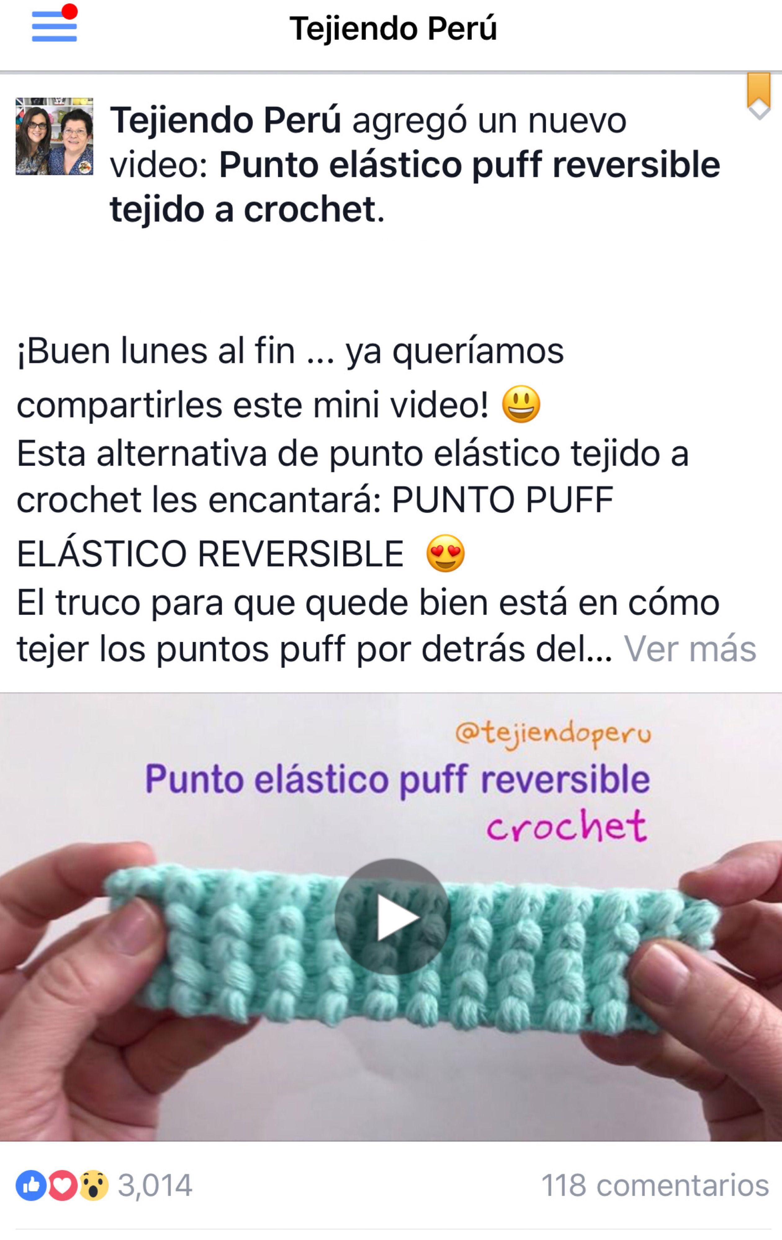 Crochet: punto elástico puff. Lindo y REVERSIBLE. Ideal para bordes ...