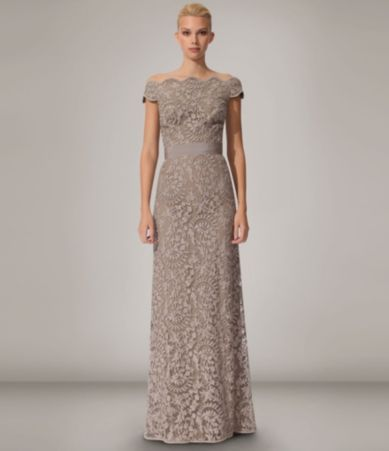 Shop for Tadashi Shoji Lace Off-the-Shoulder Gown at Dillards.com ...