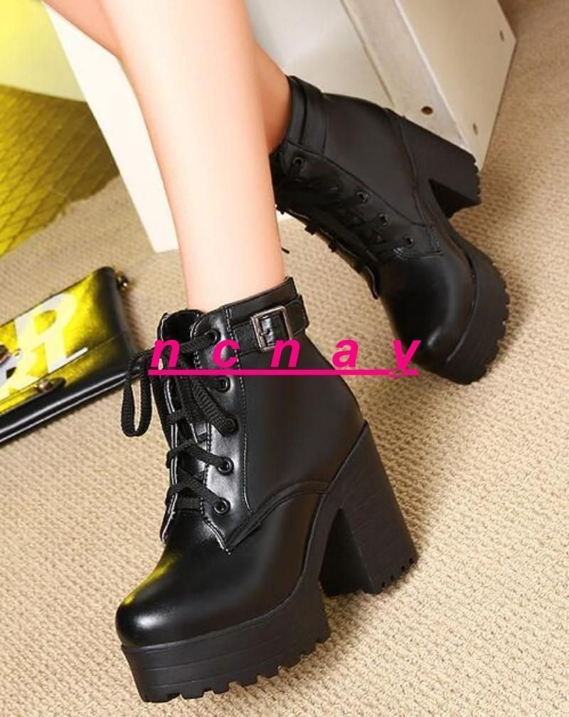 Punk Goth Donna Donna Donna Block Heel Cut Out Platform Lace Up Creeper Ankle b8c028