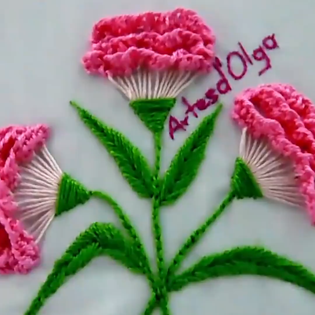 Carnation Flowers Step By Step In 2020 Ribbon Embroidery Tutorial Hand Embroidery Flowers Diy Embroidery Patterns