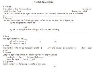 Rent Agreement Form Free  Free Rental Agreements