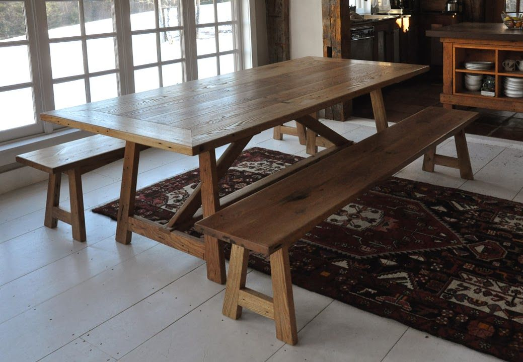 Reclaimed Chestnut Basque Style Dining Table By Dan Mosheim, A Member Of  The Guild Of Vermont Furniture Makers.