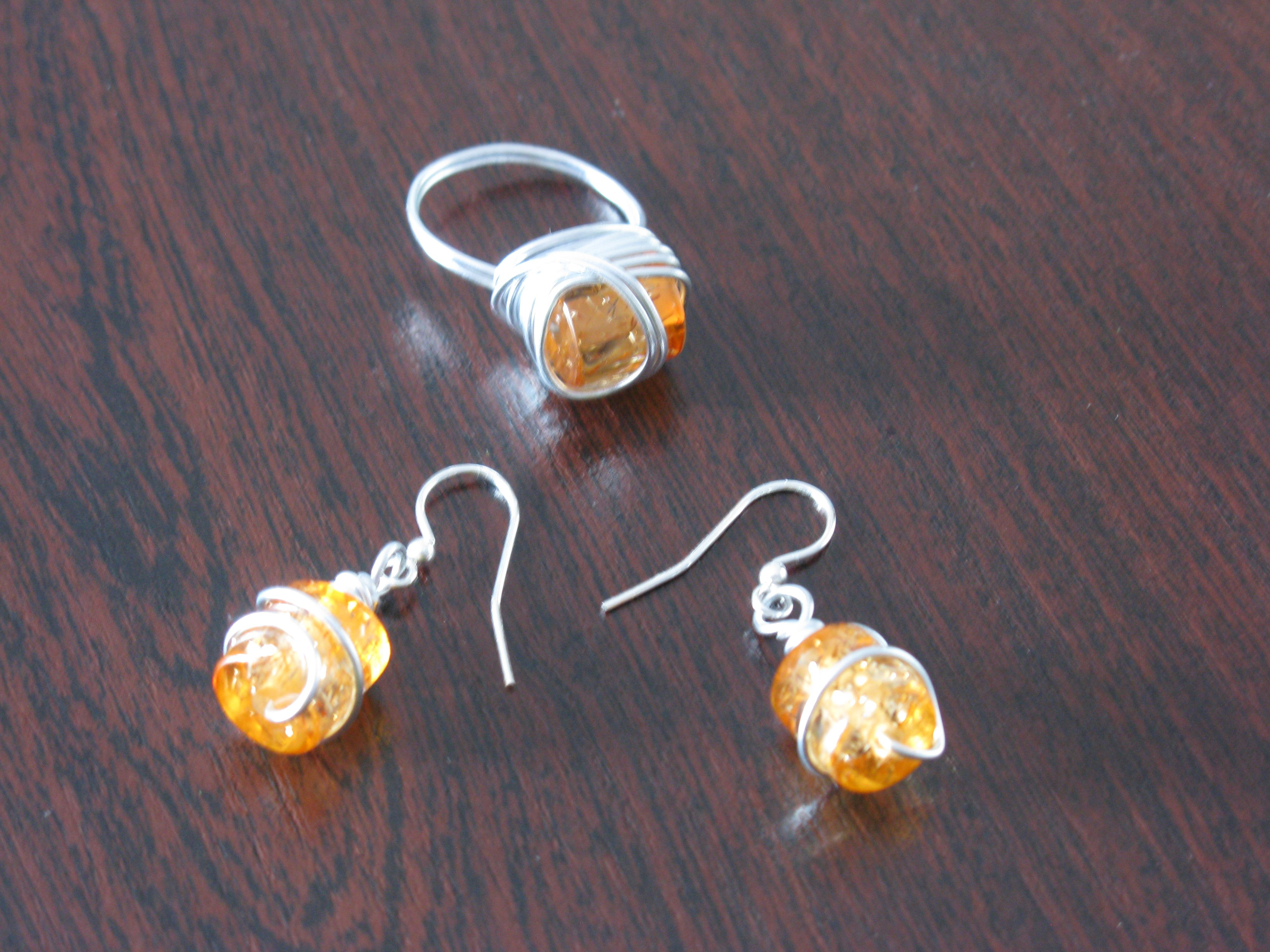 aluminium wire ring and earrings with carnelian stone   alambre 7 ...