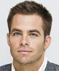 Chris Pine - Short and sophisticated is the main aim for this hairstyle. The back and sides have clipper cut short with a number two guard, blending into the textured layers through the top. A little product is needed to style this look.