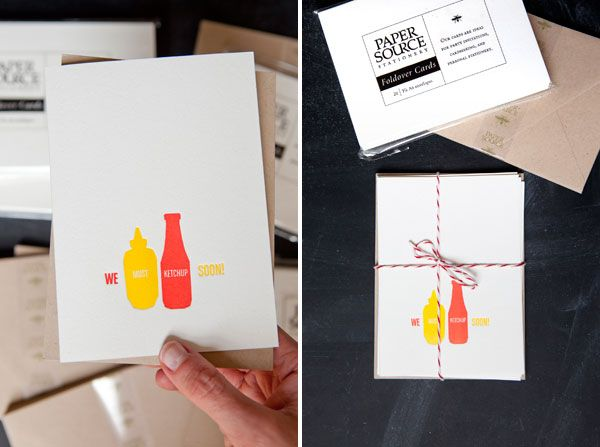 """""""We must ketchup soon!"""" letterpress cards on Paper Source Paper   Oh Happy Day!"""