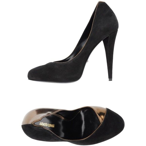 Roberto Cavalli Pump ($163) ❤ liked on Polyvore featuring shoes, pumps, bronze, patterned shoes, leather sole shoes, print pumps, cone heel pumps and leather pumps