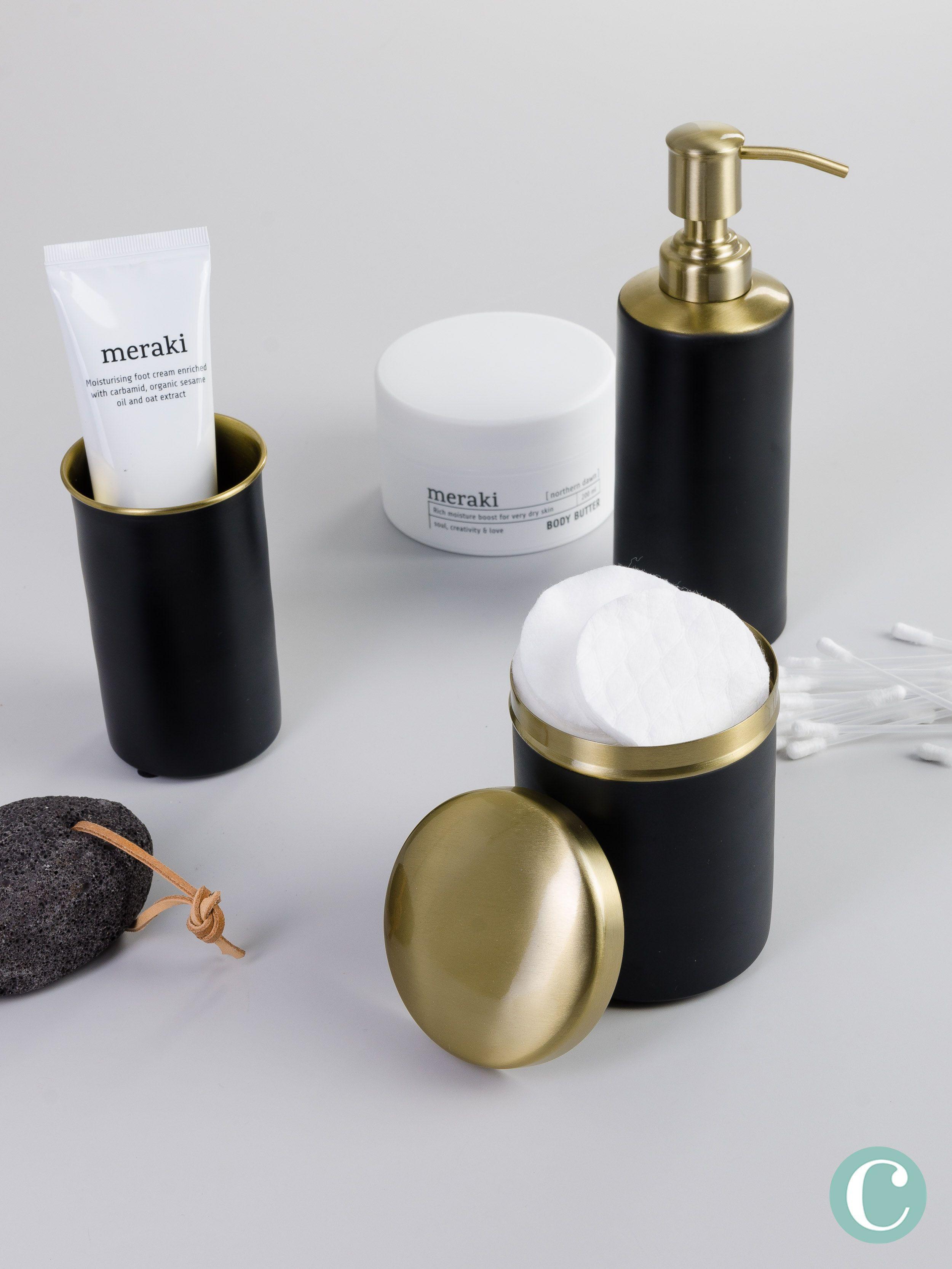 Ein Schlichtes Aber Elegantes Design In Gold Und Schwarz Fur Das Badezimmer Eine Dose Ein Seifenspender Und Ein Zah Seifenspender Schwarz Seifenspender Seife