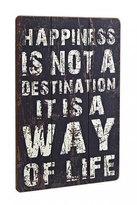 Bild Holz Happiness Schwarz