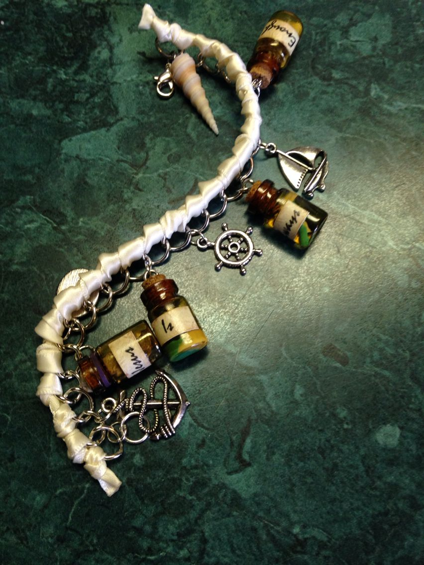 """Pirate/ocean themed bottle bracelet I made for my friend's birthday/Christmas present """"God is always enough"""""""