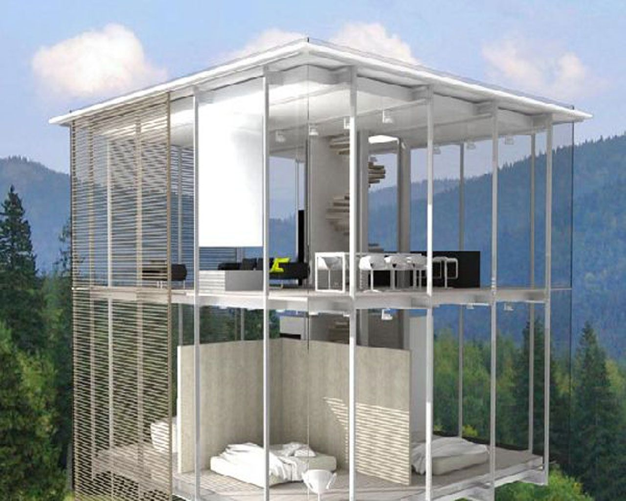 Transparent glass house overlooking the hills.