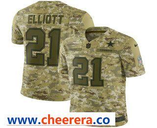 a9e5c1cc9cc Men's Dallas Cowboys #21 Ezekiel Elliott 2018 Camo Salute to Service  Stitched NFL Nike Limited Jersey