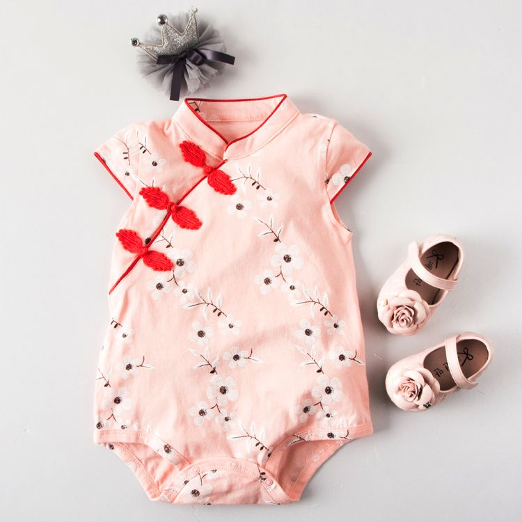 cc5f7eb232a8 CSR009 New Baby Girls Peach Cherry Blossoms Cheongsam Qipao Romper ...