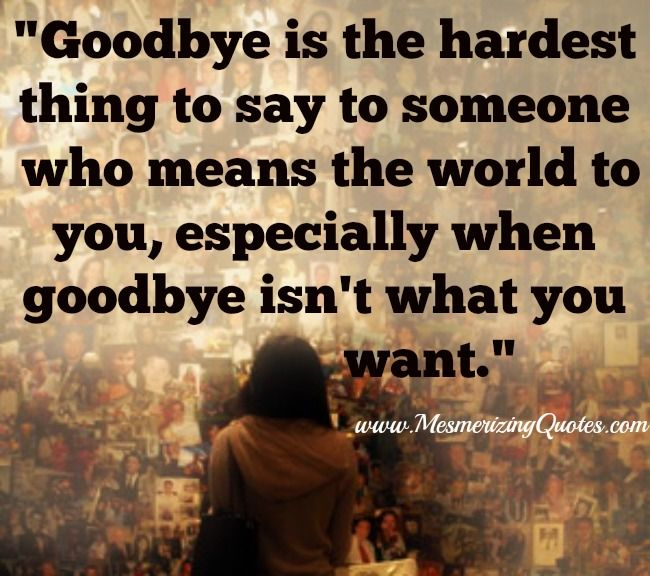 Goodbye Is The Hardest Thing To Say To Someone Who Means The World