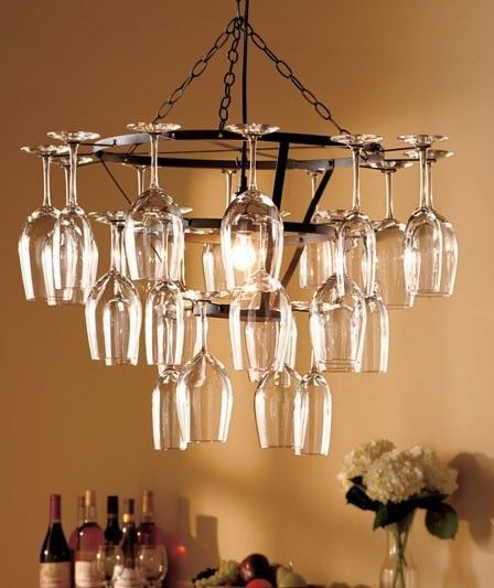 Wine Glass Chandelier Holds 25 Glasses NEW Decor Art Lighting Bar ...