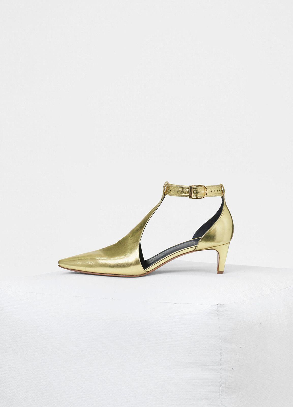 Kitten Heel Salome In Laminated Nappa Lambskin Celine Gold Kitten Heels Trending Shoes Heels