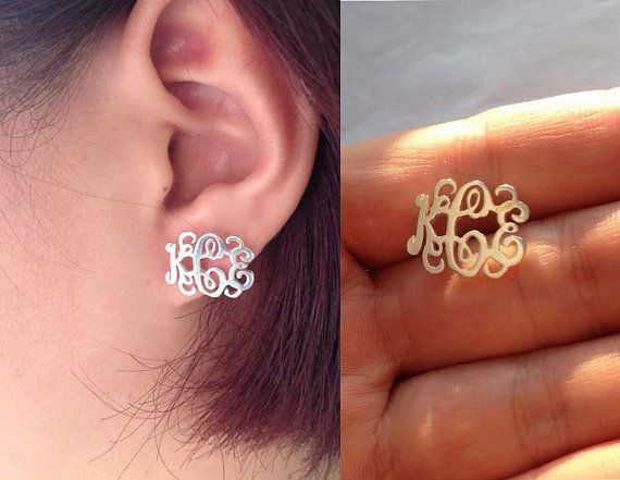 Sterling Silver Monogram Earrings 3 Initial Personalized