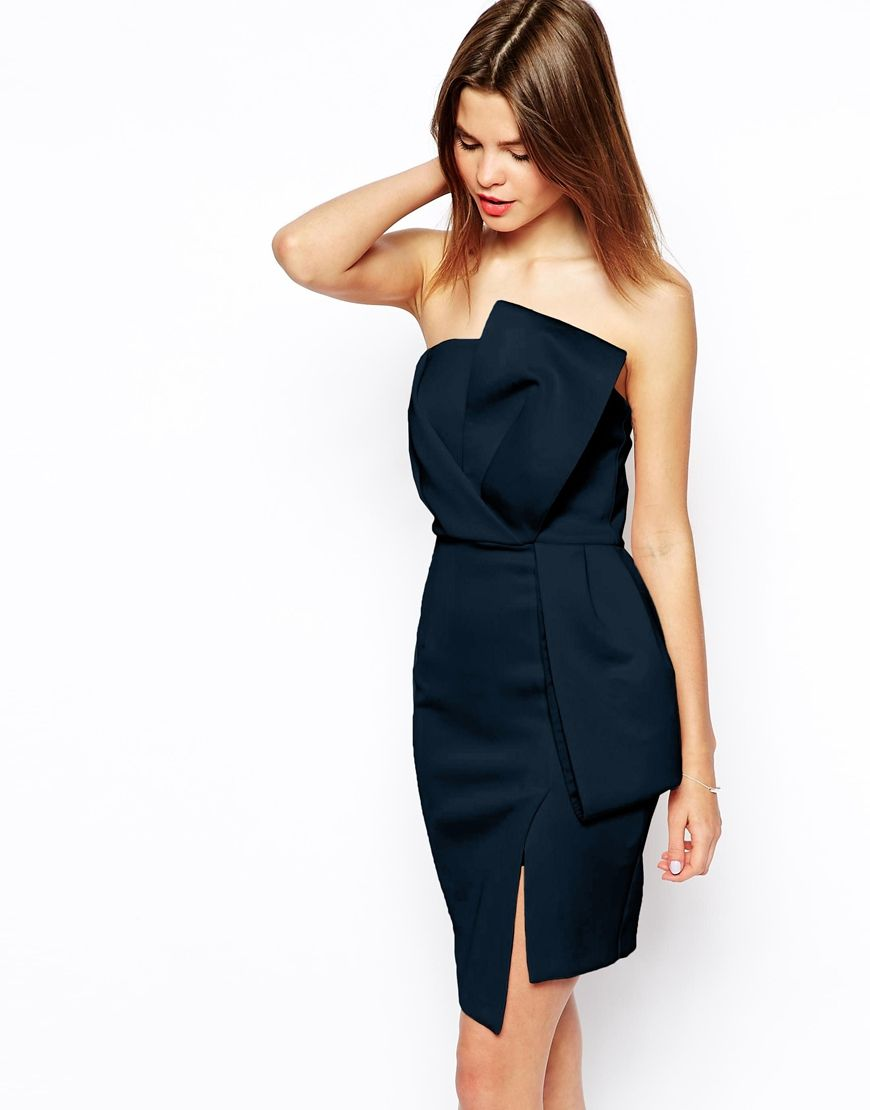 Image 1 of ASOS - pencil dress with origami ribbons  2fe17343b083
