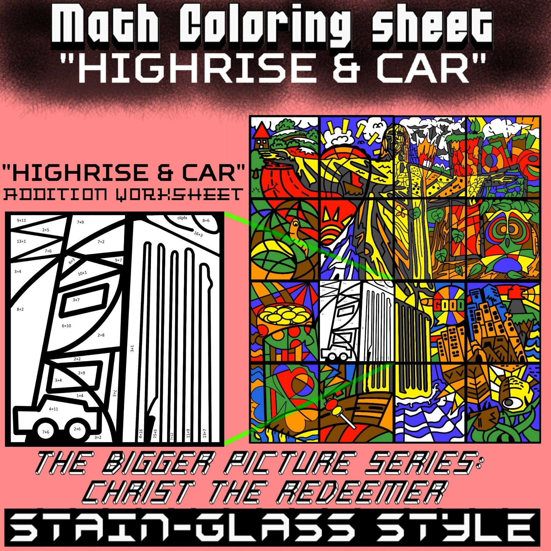 Math Colouring Worksheet Addition High Rise
