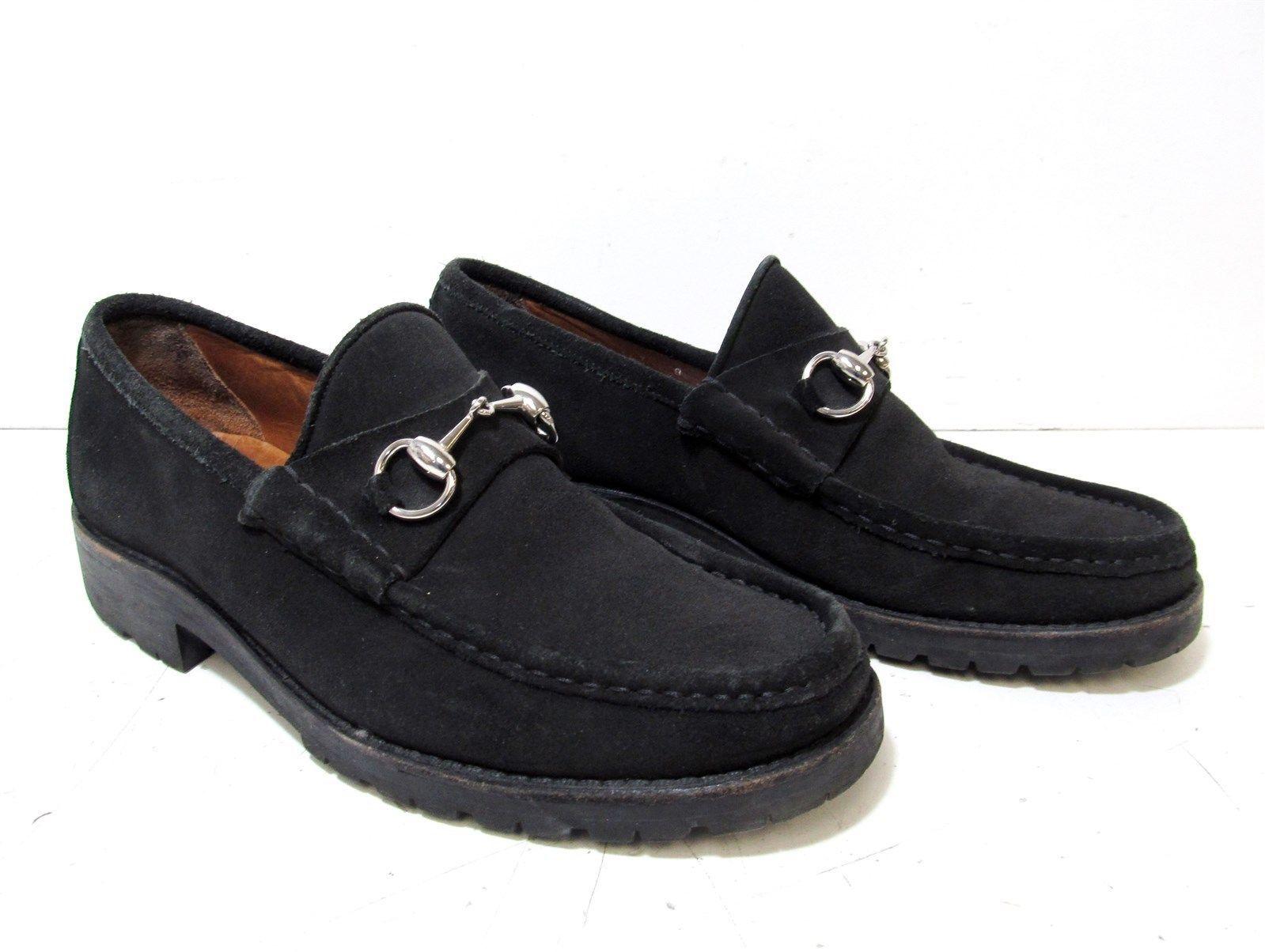 ece526f21d8 Gucci Classic Black Suede Men s Lug Sole Horsebit Loafer Shoes Size 8D   horsebit  loafer  shoes  size  sole  mens  classic  black  suede  gucci
