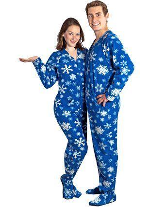 PajamaCity Snowflakes Print Polar Fleece Drop Seat Footie Pajamas ...