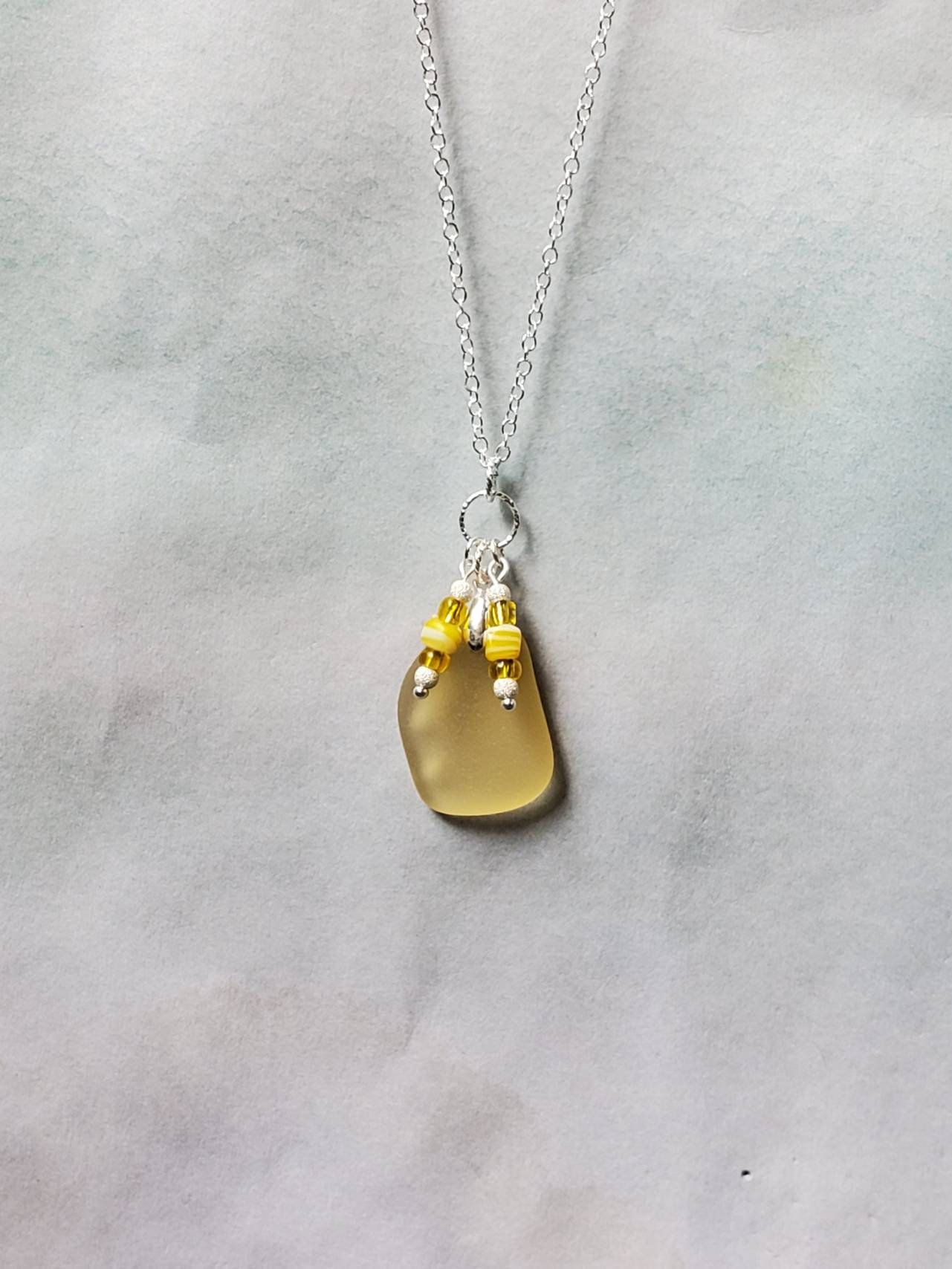 Photo of Genuine Yellow Seaglass Pendant & Sterling Silver Necklace/Handmade Seaglass Necklace/Rare Seaglass Jewelry/Beaded Yellow Seaglass Necklace