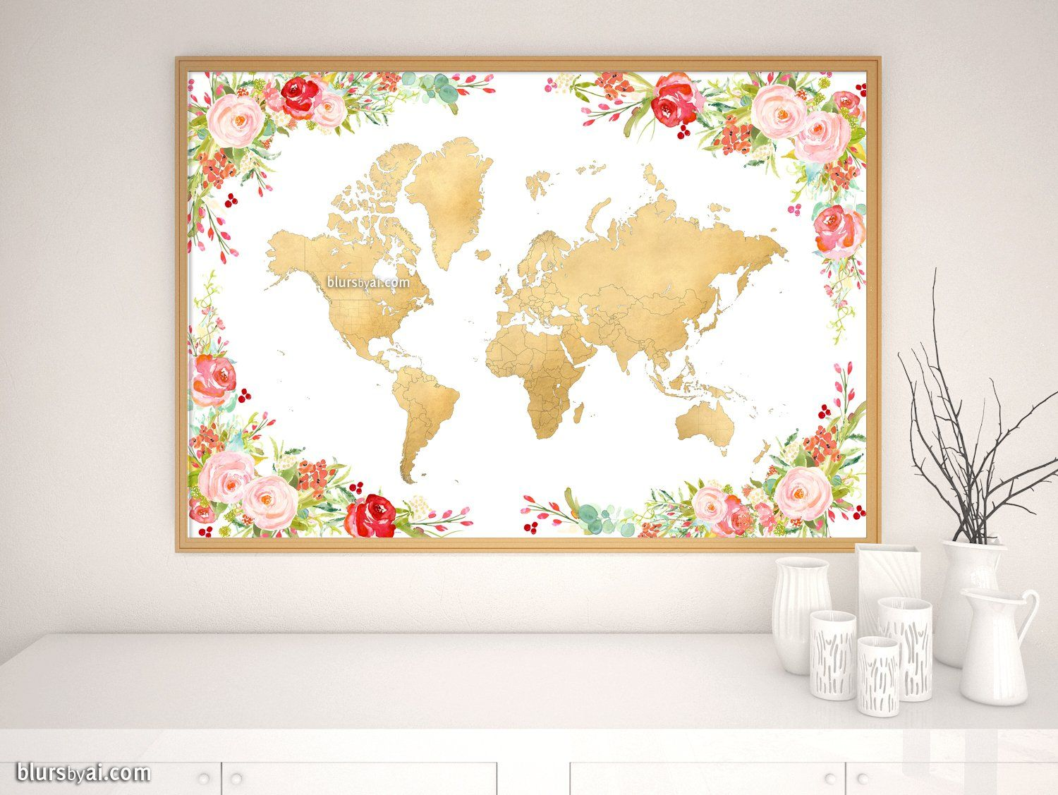 Floral and gold world map print without labels, \