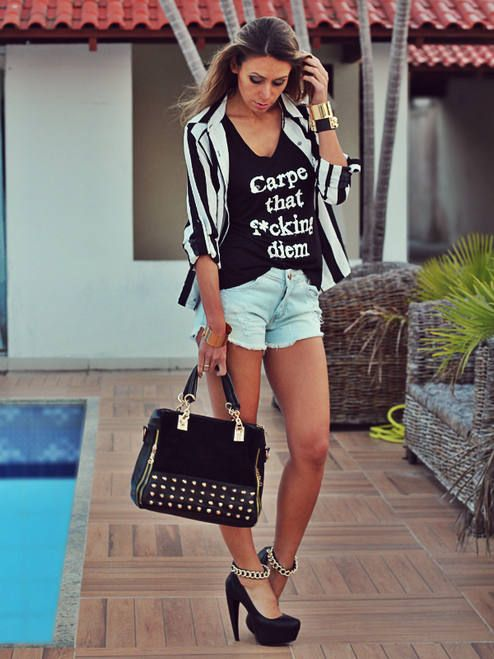 Graphic + colored cut off shorts