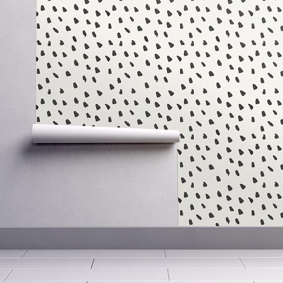 Painterly Wallpaper Large Black Dots Cream By Weegallery Etsy Spotted Wallpaper Black Dots Removable Wallpaper
