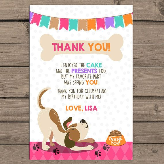 Puppy birthday thank you card paw ty pawty paw tey puppy dog puppy birthday thank you card paw ty pawty paw tey puppy dog birthday girl thank you card pink purple teal dog themed digital printable bookmarktalkfo Image collections