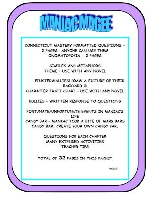 MANIAC MAGEE 32 Page Packet | Activities, Language and Small groups