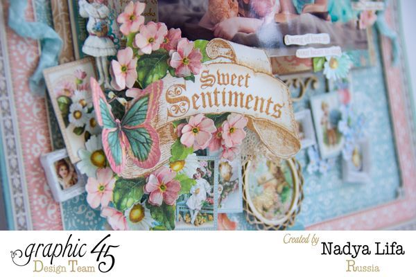 The gorgeous dimension and details on Nadya's Sweet Sentiments layout! Wow, stunning! #graphic45