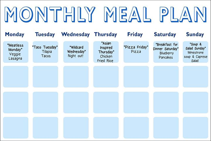 Daphne OzS MealPlanning Calendar  The Dr Oz Show  Meal Planning